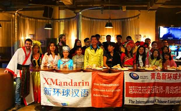 Xmandarin students and teachers enjoy a special costume party and event together in a Qingdao pub
